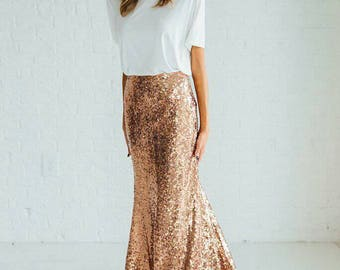 Yours and Mine Fall 2017 Womens Sequin Skirt: Custom Made, Fit and Flare, Gold Sequins or Rose All Sizes Available USA Seller