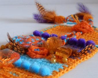 Orange bracelet. Knitted bracelet. Bracelet with antique amber