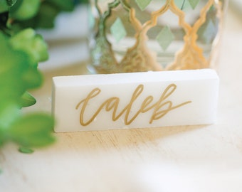 Handlettered Marble Place Cards | Custom Name Cards for Wedding or Event | Modern Calligraphy