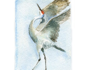 Watercolor Crane, Crane Print