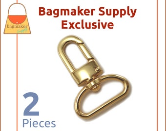 "1 Inch Swivel Snap Hook, Gold Finish, 2 Pack, Handbag Bag Making Hardware, Purse Supplies, 1"", Lobster Claw, SNP-AA098"