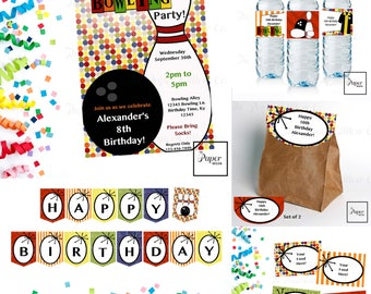 Bowling-Rainbow-Birthday-Printable Party Set-DIY Printable-Instant Download-Editable Files-Banner-Labels-Tags-Toppers-Sign