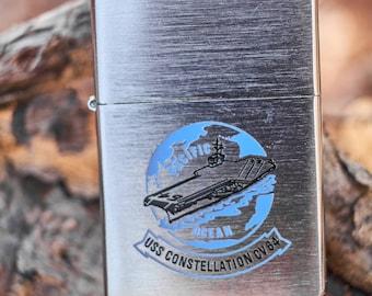 Zippo USS Constellation CV 64 unfired Zippo with safety sticker