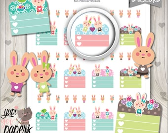 Bunny Stickers, Planner Stickers, Easter Stickers, Bunny Checklist, Planner Accessories, Bunny Planner, Checklist, Easter Planner
