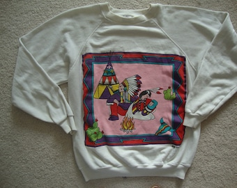 Vintage Indians Southwestern New Mexico Art Indian Native American white crew neck Sweatshirt M