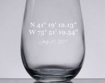 Coordinates Wine Glass, Wedding Gift, Engraved Wine, GPS Coordinates, Wedding Wine Glasses, Custom Wedding Glasses, Mr and Mrs, Bridesmaids