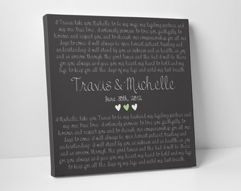 Second Cotton Anniversary Gift, Wedding Vows on Canvas, For Him, For Her