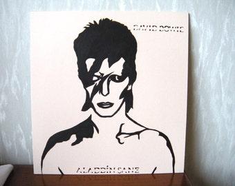 David Bowie / Aladdin Sane, portrait original stencil painting