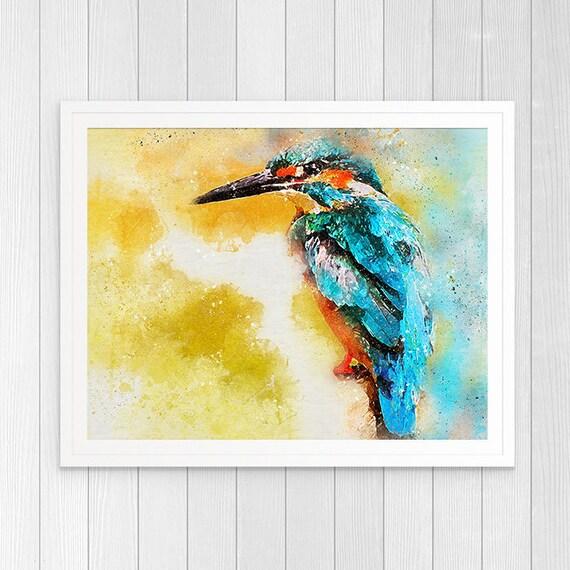 Kingfisher Wall Art Birds Art Print Kingfisher Decor Bird