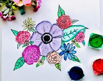 Watercolor flower art