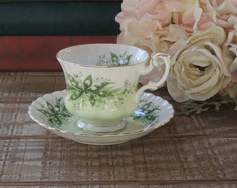 Royal Albert Concerto Tea Cup and Saucer Set Melody Series Lilly of the Valley, Vintage English Bone China