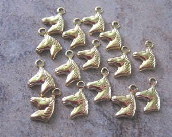 15 Gold-Plated Brass Charms, 6x6mm Horse Head - JD100