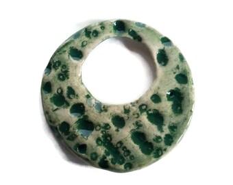 textured moon necklace charm, ceramic pendant, large round pendant, glazed pendant, handmade clay pendant, porcelain pendant, unique pendant