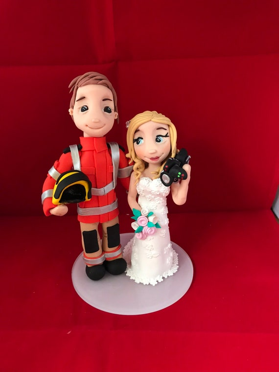 personalised Wedding Cake Topper bride and groom figures in uniform - Fireman/Fire service