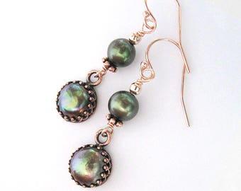 Green Freshwater Pearls Copper Filigree Crown Settings, Rose Gold Dangle Earrings, Ear Wire Options