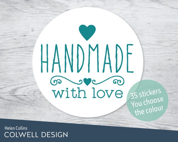 Stickers handmade with love 37mm diameter round sticky labels 032a choose colour custom personalised for business posting shipping labels from