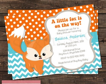 Orange and Teal Chevron Baby Fox Baby Shower Invitation