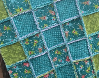 Rag Patchwork Quilt - Handmade with Flannel of Sock Monkey Print in Aqua, Green, and White; Aqua, Green, and White Minky; Baby Crib Blanket