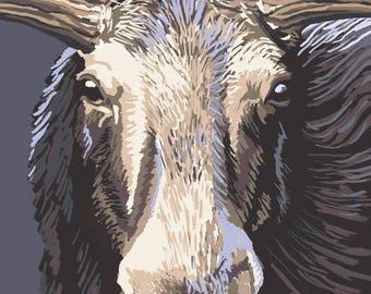 Maine - Moose Up Close - Lantern Press Artwork (Art Print - Multiple Sizes Available)