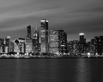 Chicago skyline, black and white art photography, large photo print, city panorama picture, canvas wall decor 8x10 12x12 16x20 24x36 30x45