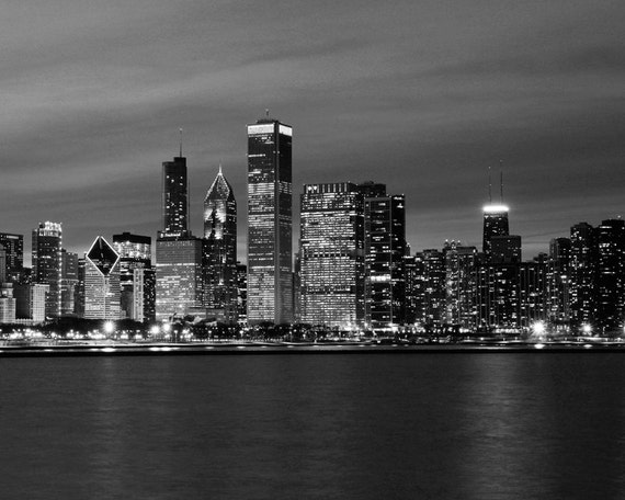 Chicago skyline black and white art photography large photo