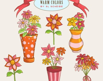 Flower clipart set pink and orange spring flowers, floral bouquets in vases graphic set, floral clipart commercial use by SLS Lines