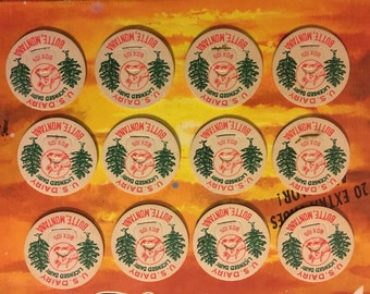 Vintage Lot of 12 1950 U.S. Dairy Milk Caps