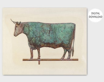 "Cow with Horns, Western Home Decor (Rustic Farmhouse, Folk Art Painting Print, Downloadable Prints) - 1930s PRINTABLE Art ""Cow Weather Vane"""