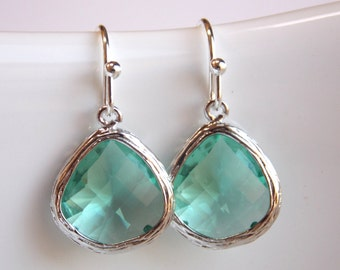 Green Earrings, Aqua Earrings, Erinite, Teal, Silver Earrings, Soft Green, Bridesmaid Earrings, Bridal Earrings Jewelry, Bridesmaid Gifts