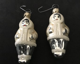 2 Eskimo Silver Blown Christmas Glass Ornament (CRP 2)