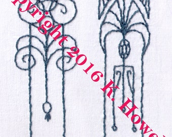 Art Deco Accents Hand Embroidery Pattern, Art Deco, Design, Decoration, PDF