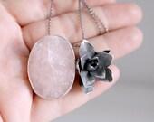 Pink Quartz pendant. Sterling silver pendant with pink Quartz and Succulent. Succulent pendant, Succulent necklace, pink quartz necklace.