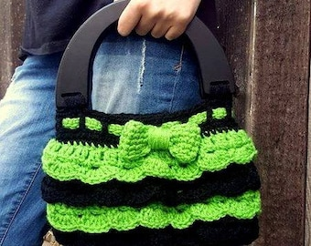 Wood Handle Bag, Green Bag, Green Handbag, Green Purse, Crochet Bag, Crochet Purse, Crochet Handbag, Handmade Bags, Tutu Bag, Handmade Purse