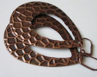 Teardrop Hoop Earrings, Open Teardrop Earrings, Boho Jewelry, Copper Snake Skin, Hoop Earrings