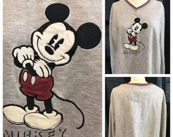 35% Off Sale Retro Mickey Mouse grey v neck sweatshirt size xlarge large