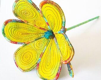 Stitched Silk Flower, Free Machine Embroidery. Home decor, Everlasting Flower, Silk and Hand Dyed Cotton Flower Decoration, Flower,