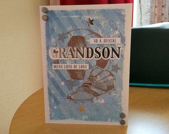 Grandson Birthday Card - luxury quality bespoke UK handmade
