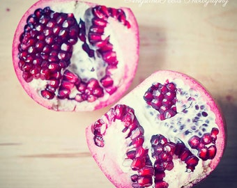 Pomegranate photograph food photo Dining room art kitchen wall art square food art fruit red ruby red gift under 50