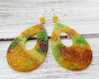 Carved jade earrings, orange and green jade earrings, 925 sterling silver earrings, drop earrings, dangle earrings, contemporary jewelry