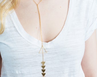 Gold necklace, Gold lariat necklace, Triangle necklace, Geometric necklace, Layered necklace, Choker necklace, Long necklace, Gift for her