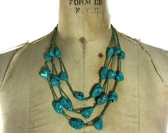 Vintage Chunky Turquoise Necklace / Handmade Multi Strand Huge Raw Turquoise Beads on Hemp