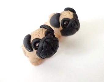 Pug puppies earrings