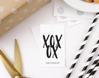 personalized gift tags, birthday gift tags, personalized gift tags birthday, gift tags, gift tags personalized, her, black + white,  XOXO