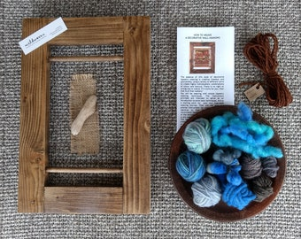 Weaving Kit, Small - Blue Wool, Learn to Weave, Weave Wall Hanging, Frame Loom, Tapestry, Handspun Yarn, Weave Kit, Craft Kit