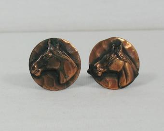 Copper Horse Head Cufflinks - Vintage 1970s