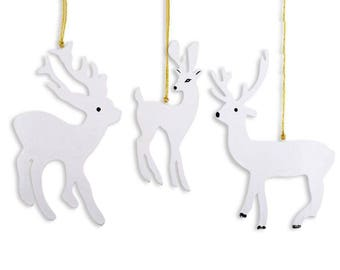 "7"" Set of 3 White Deer Wooden Christmas Ornaments"