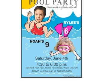 Pool Party Birthday Invitation, Photo Invitation, Personalized Birthday Invitation, Custom Photo Invitation