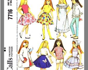 Doll Clothes Instant Download Vintage McCall's Skipper Doll's Wardrobe Fabric Material Sewing Pattern #7716 PDF Delivery