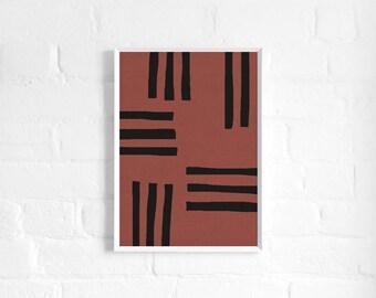 Abstract Terracotta Stripes A3 Art Print, Rust Colour Poster, Minimalist Art, Modern Abstract Art, Wall Decor, Large Art Print