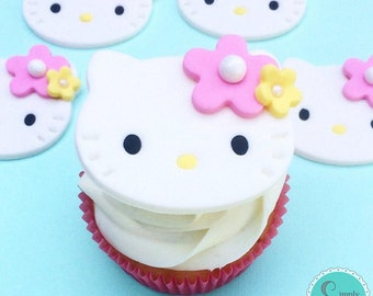 12 Hello Kitty fondant cupcake topper - Hello Kitty Birthday - Hello Kitty cupcake toppers - Hello Kitty party - Sanrio party - Cupcake